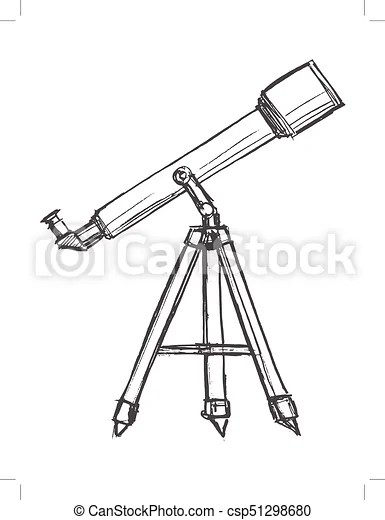Telescope for watching sky. Vector, sketch, hand drawn