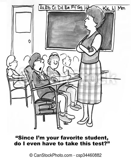 Test day. Education cartoon about teacher's favorite