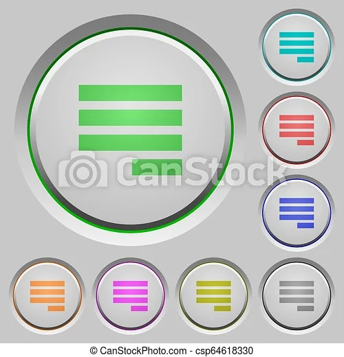 Text align justify last row right push buttons. Text align justify last row right color icons on sunk push buttons.