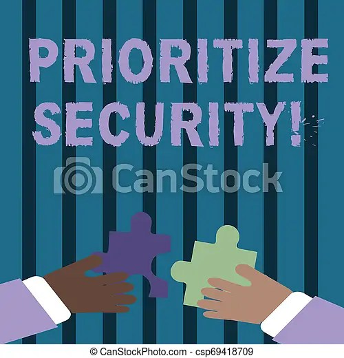 Text sign showing prioritize security. conceptual photo designate security risk as more important to solve two hands holding