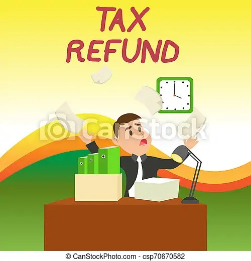Text sign showing tax refund. conceptual photo refund on tax when the tax liability is less than the tax paid confused male