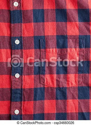 Texture of checkered flannel shirt with buttons and pocket.