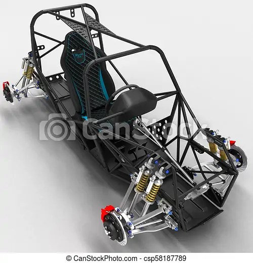 The frame frame of the sports car is a buggy with the basic design elements of the suspension and the pilot's seat. 3d illustration.