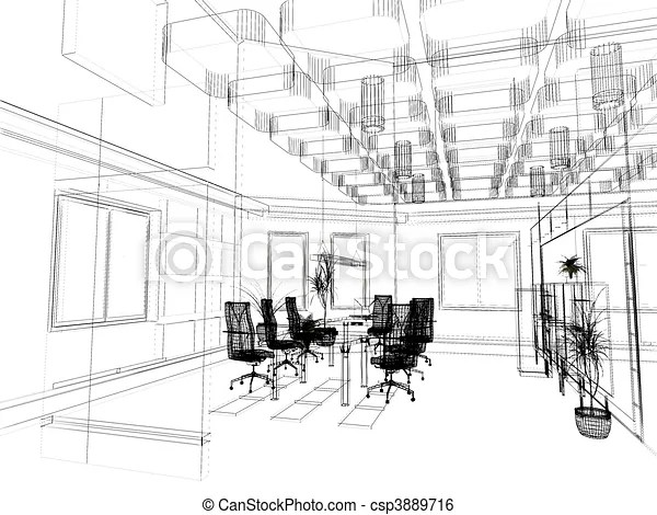 The modern office sketch. The modern office interior