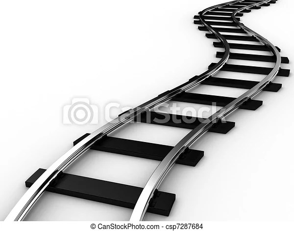 The railway for a train on a white background
