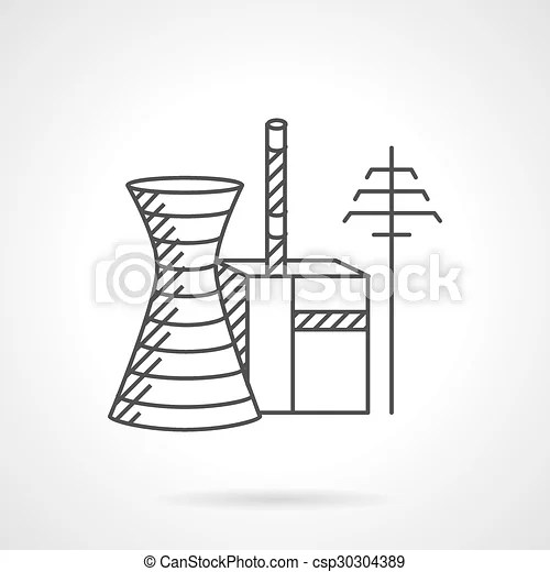 Thermal power plant line vector icon. Power industry