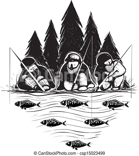 Three fisherman sitting on river bank with rods. Layered