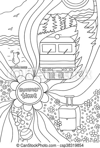 Time to relax. coloring page for adults, anti-stress