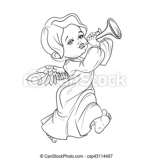 Toddler angel making music playing trumpet. Cute smiling