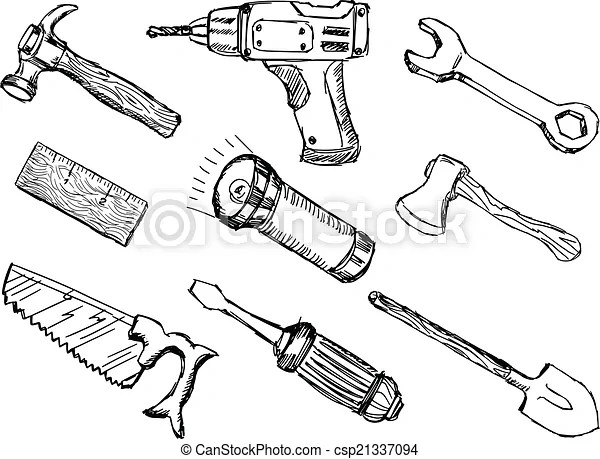 Tools. Hand drawn, doodle, sketch illustrations of tools.