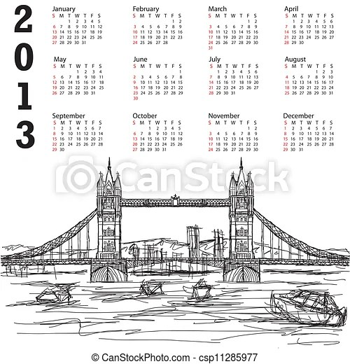 Tower bridge 2013 calendar. 2013 calendar with hand drawn