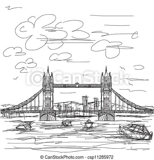Hand drawn illustration of famous tourist destination