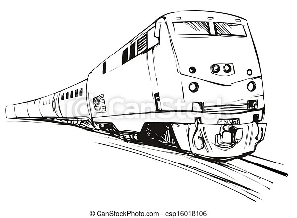 Train sketch style. Illustration of a black and white