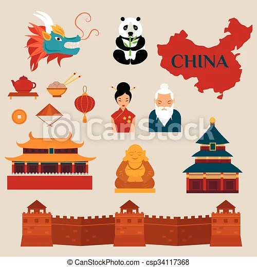 travel china vector icons illustration