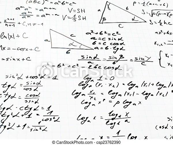 Trigonometry math equations and formulas. Squared sheet of
