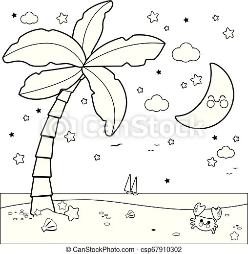 Tropical Beach With Palm Tree At Night Vector Black And White Coloring Page Tropical Beach With Palm Tree And Starry Night