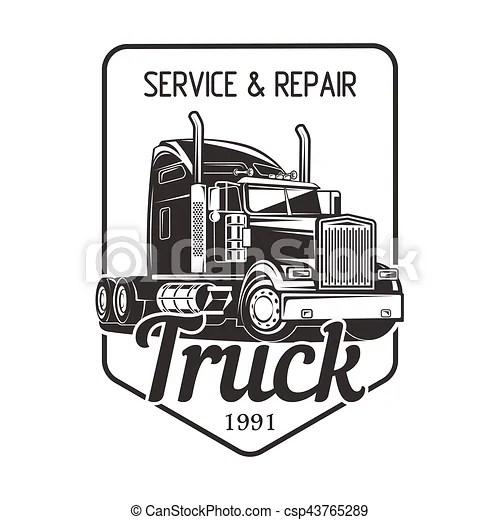 Truck logo service and repair black white vector