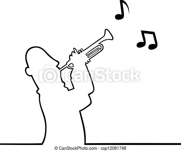 Black line art illustration of a trumpet player eps vector