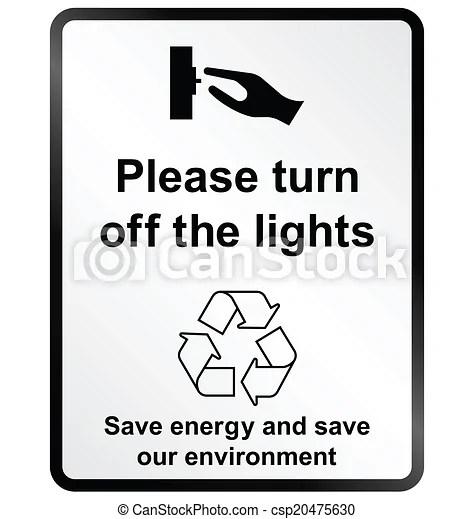 Turn off lights information sign. Monochrome turn off