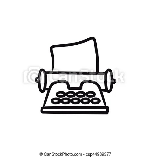 Typewriter sketch icon. Typewriter vector sketch icon