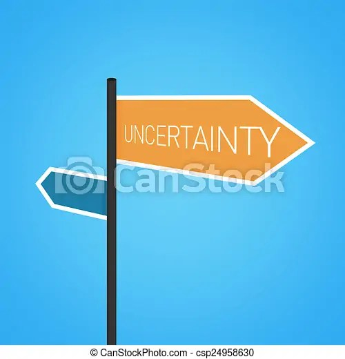 Uncertainty nearby, orange road sign concept on blue background.