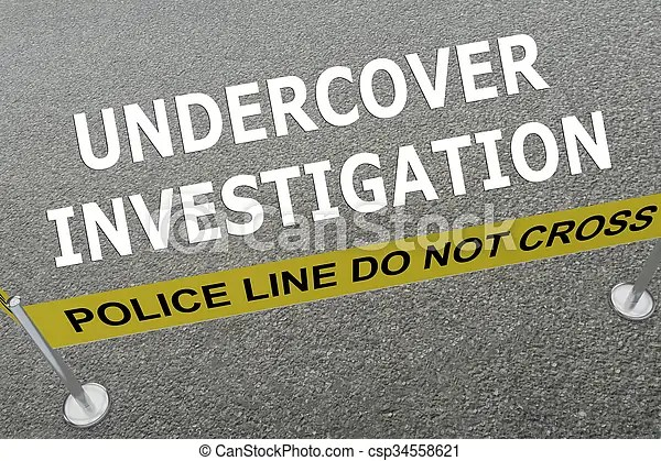 Undercover investigation concept. Render illustration of undercover investigation title on the ground in a police arena.