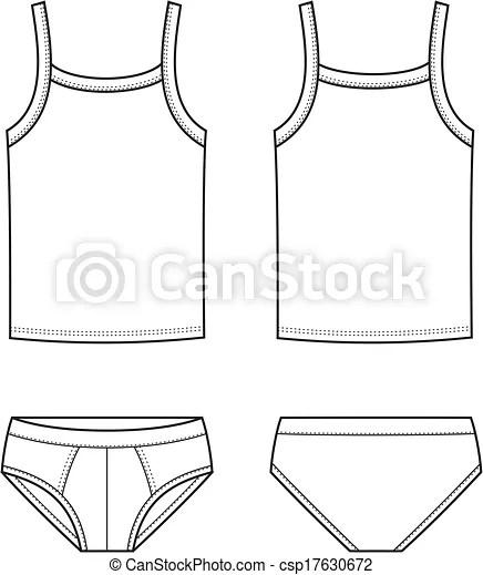 Vector illustration of men's underwear. singlet and pants