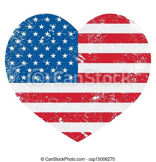United States On America Flag Usa Vintage Old Flag Heart