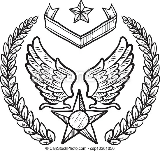 Us air force military insignia. Doodle style military rank