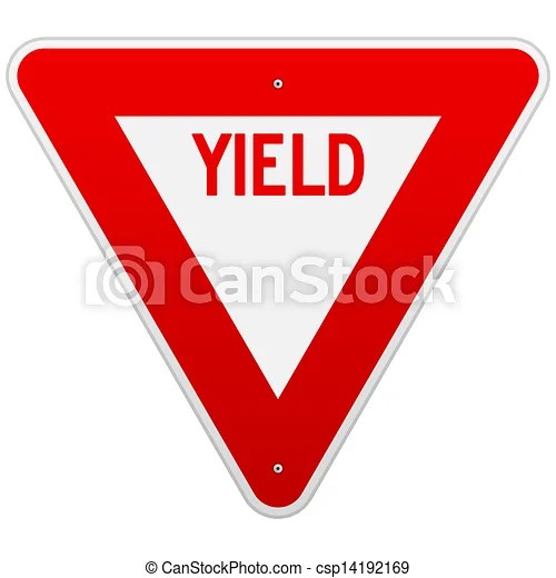 Usa yield sign. Classic red and white road sign isolated on white background.