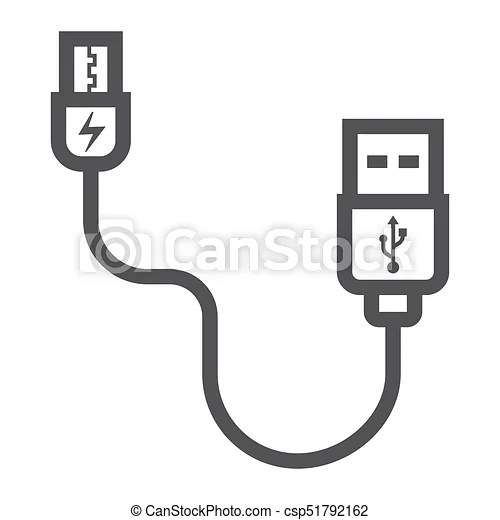Usb cable line icon, connector and charger, vector