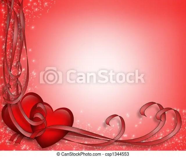 Valentine Hearts And Ribbons Border Csp