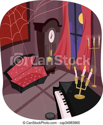 Vampire room coffin Illustration of a room with an open coffin in a corner