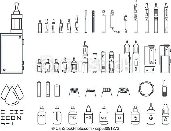 Vecor set of vape related simple line icons. rda, atomizer