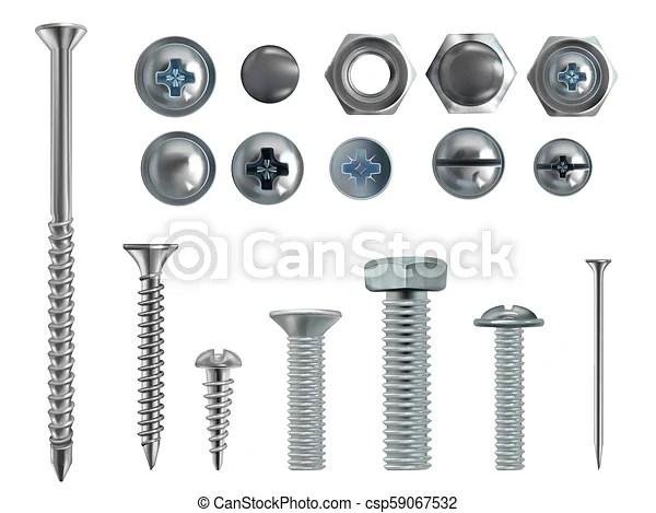 Vector 3d realistic steel bolts, nails, screws. Vector 3d