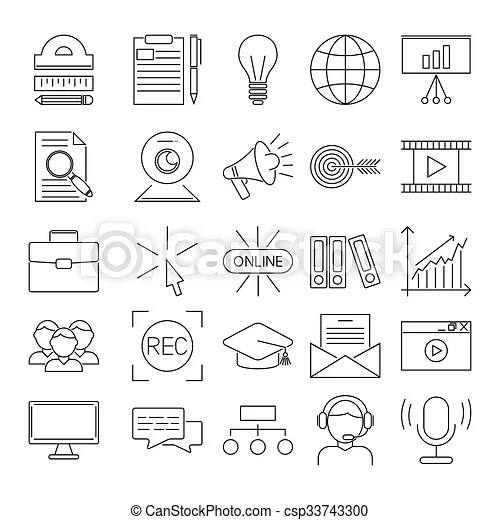 Vector business webinar and online education outline icons
