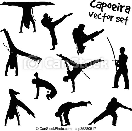 Vector capoeira set. Isolated silhouettes capoeira