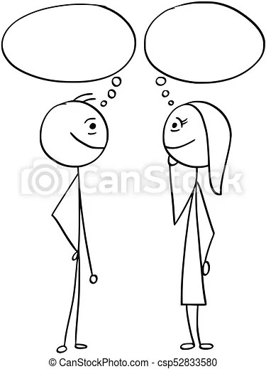 Vector cartoon of man and woman with empty blank speech