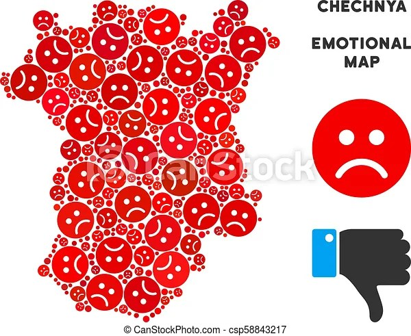 Vector crisis chechnya map collage of sad smileys. Emotion chechnya map collage of sad emojis in red colors. negative mood vector concept of ...