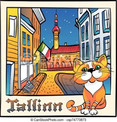 Vector cute cat in tallinn estonia Vector sketch with cute red cat and town hall in medieval old town of tallinn estonia CanStock