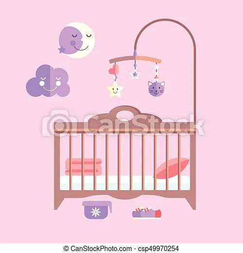 vector flat baby bed