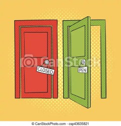 Vector hand drawn pop art illustration of doors open and closed door retro style hand drawn sign illustration for print CanStock