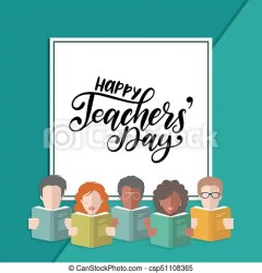 happy teachers frame lettering hand vector students clip illustration icons pupils flat books clipart drawing icon drawings illustrations line