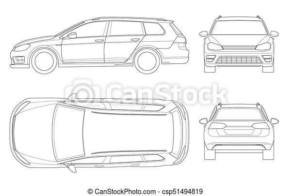 Vector hatchback car in outline. compact hybrid vehicle