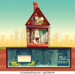 basement vector cartoon section cross attic club counter cinema front drawing disco observatory bar interior living room background clipart graphic
