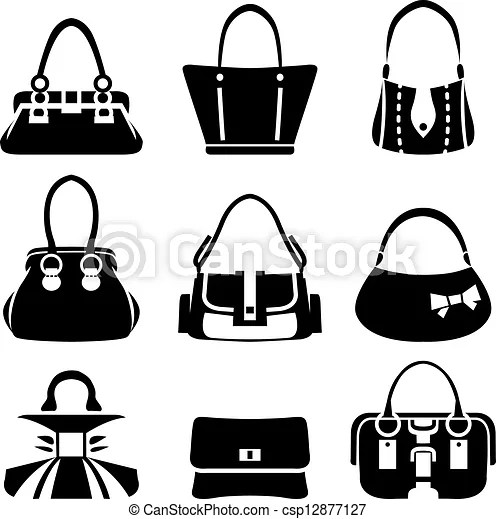 Vector icons of female bags.