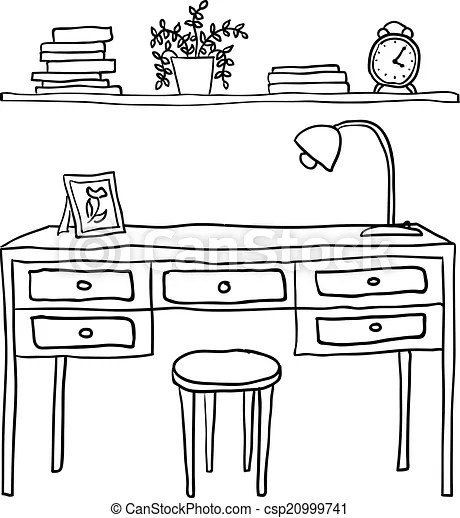 Vector illustrated desk and shelf with books and clock.