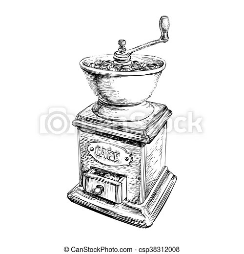 Vector illustration manual coffee grinder.