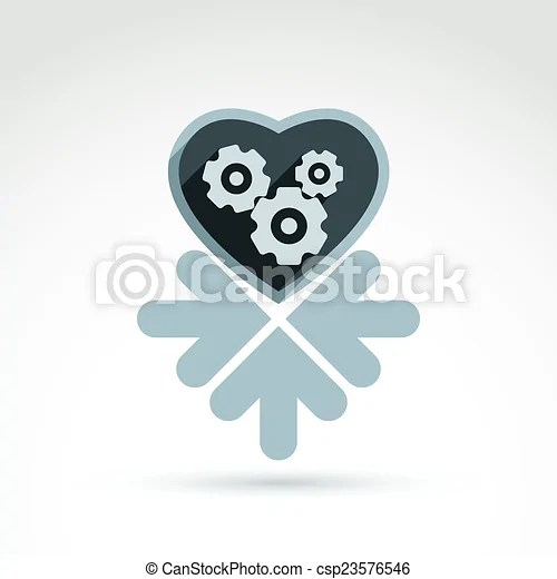 Download Vector illustration of a mechanical heart. love machine ...