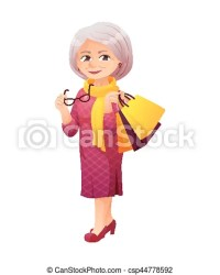 Vector illustration of an old active lady with glasses who is dressed in a elegant dress she is shopping and carrying a CanStock
